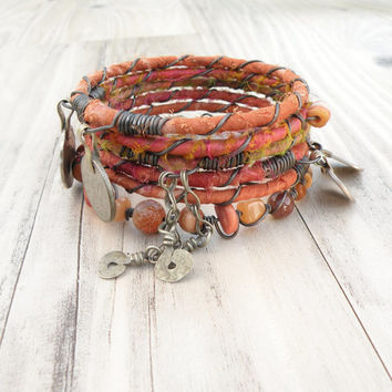 Silk Road Bangle Stack, Peachy Orange, 6 Silk Wrapped Boho Tribal Bracelets, Set with Gypsy Coin Charms