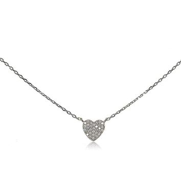 Sterling Silver Cubic Zirconia Heart Choker Necklace
