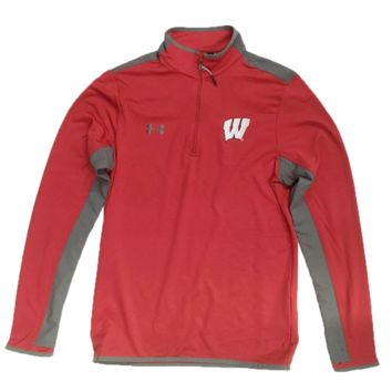 Wisconsin Badgers Red Flawless Survival 1/4 Zip Track Jacket By Under Armour