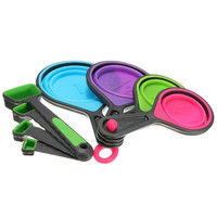8 x Collapsible Silicone Measuring Cups Spoons Kitchen Tool For Cooking Baking Coffee Random Color