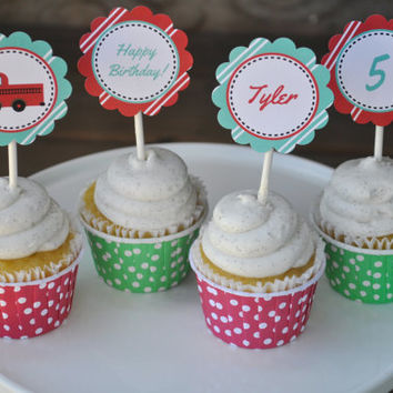 Fire Truck Party: Printable Cupcake Toppers