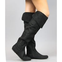 Qupid Proud-09 Foldable Over the Knee Faux Suede Round Toe Riding Boots