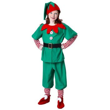 Child Holiday Elf Costume Boys And Girls Halloween Clothes Suit Included 6pcs One Set Unisex Elf Cosplay Costumes For Christmas