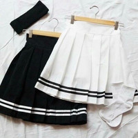 8DESS Cute Casual Ruffle High Waist Skirt