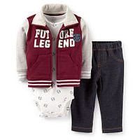 "Carter's Boys 3 Piece Burgundy/Grey ""Future Legend"" Zip Up Sweatshirt, Baseball Print Bodysuit, and Faux Denim Pant Set"