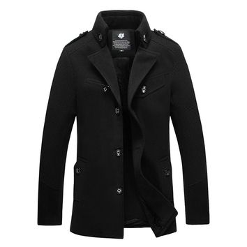 2017 fashion men woolen coats business casual jacket winter peacoat outerwear M L XL XXL 3XL 4XL AF12
