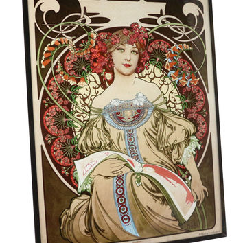 Alphonse Mucha - Reverie, 1897 Art Glass Panel
