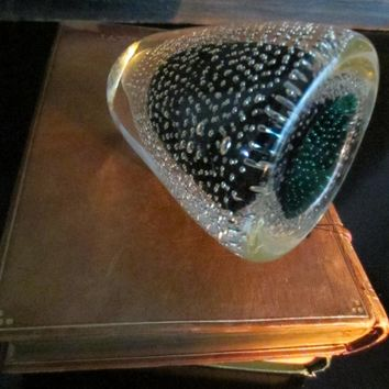 Green Glass Votive Candle Holder Controlled Bubbles Paperweight Attributes Thomas Webb