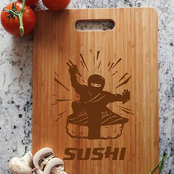 ikb372 Personalized Cutting Board Wood Funny Ninja Sushi Japanese restaurant