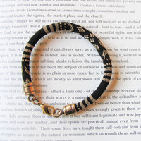 Black and Gold Men's Silky Cord Stacked Bracelet Woven Fabric Bohemian Bracelet  Unisex Bracelet