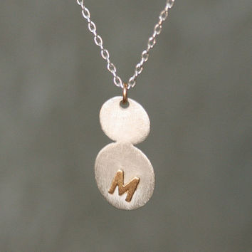 Gold Initital Necklace in Sterling Silver and 14K Gold