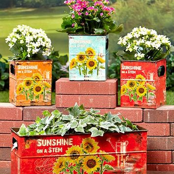 Set of 4 Sunflower Planters. Metal Containers. Great for Planting or Storage Bins