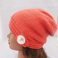 Slouchy Hat, Hand Knit Slouchy Hat, Winter Beanie, Slouchy Hat in Orange