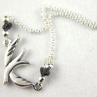 Dove Necklace - Sterling Silver Rolo Chain - Rough Raw Diamonds - Sparrow Pendent - April Birthstone