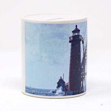 Grand Haven Lighthouse Design Coin Bank, Ceramic