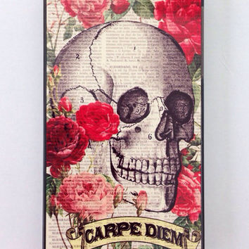 Skull iPhone 5 case, carpe diem iPhone case, roses and skull, trendy phone case, tattoo phone case, seize the day case