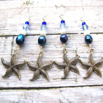 4 Handmade Starfish Charms, Starfish Dangles, Bead Drops, Earrings Dangles