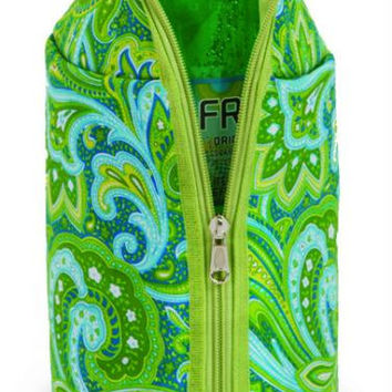 2 Beverage Jackets - Green Paisley Print