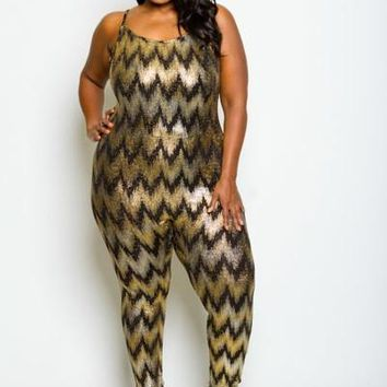 Metallic Missoni Pattern Fit Jumpsuit