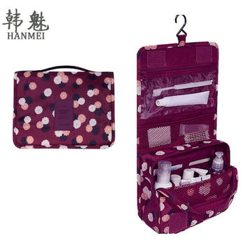 2016 Women Waterproof Portable Travel Cosmetic Bag Hanging Mesh Toiletry Storage Purse Organizer Makeup Pouch Free Shipping F416