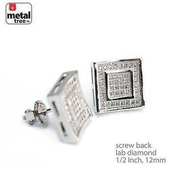 Jewelry Kay style Men's Hip Hop Plated Double Caved Square Block Screw Back Stud Earrings BE 015 S