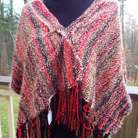 Handwoven Shawl, Red Shawl, Thick Warm Winter Wrap, Hand Woven Poncho, handmade gift for women, mothers day, gifts for her, ooak accessory