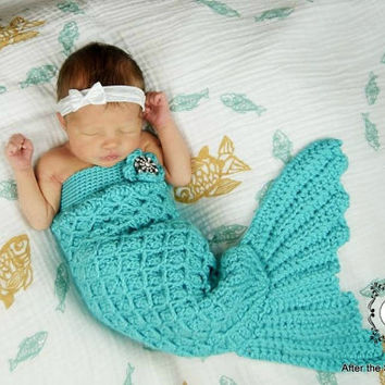 Mermaid Tail Cocoon Set with Matching Headpiece - Handmade Crochet - Made to Order - Baby Photo Prop
