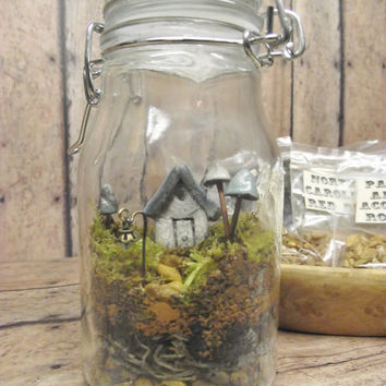 Terrarium Kit With Tiny House, Glow in the Dark Mushrooms and Lantern Live moss Terrarium Kit Handmade by Gypsy Raku