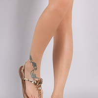 Metallic Vegan Leather Rhinestone T Strap Sandal
