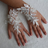 İvory Lace, Wedding Gloves,Bridal Lace Gloves , Unique Gloves,Fingerles.Mittens