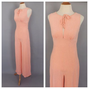 Vintage 1970s Peach Terry Cloth Jumpsuit One Piece Tank Top Pantsuit Retro Beach Romper Jumper Pants Disco Hipster Disco 70s Loungewear