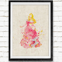 Princess Aurora Sleeping Beauty Disney Watercolor Art Print, Princess Room Wall Poster, Home Decor, Not Framed, Buy 2 Get 1 Free!