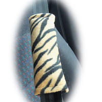 Gold Tiger stripe fleece seatbelt pads 1 pair