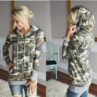 2018 Spring Women Hooded Sweatshirt Camo Hoodies Camouflage Military Long Sleeve Jungle Tracksuit Tops Casual Pullover Plus Size