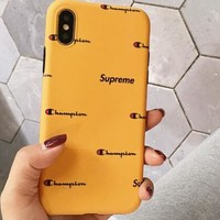Supreme x Champion Fashion Yellow Phone Case iPhone8 Grind Arenaceous Creative Protective Cover Soft Phone Shell For iphone 6 6s 6plus 6s-plus 7 7plus 8 8plus X I12407-1