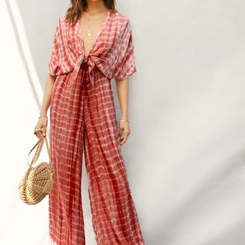 Plunging Neck Knot Front Tie Dye Palazzo Jumpsuit