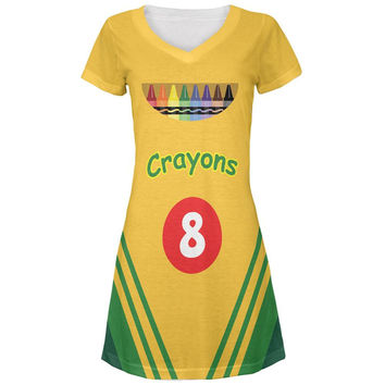 Halloween Crayon Box Costume All Over Juniors V-Neck Dress