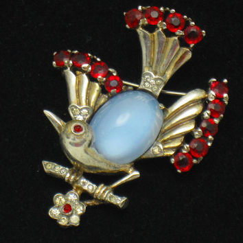 TRIFARI Sterling Moonstone Rhinestone Bird on a Branch Pin Brooch 1940's