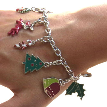 Hampton Direct Holiday Themed Charm Bracelet With Set-OF-12 Interchangeable