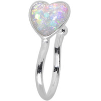 White Synthetic Opal Rhodium Plated Heart Clip On Nose Ring | Body Candy Body Jewelry