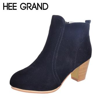 HEE GRAND New Arrival Women Ankle Boots Fashion Ladies Women Boots Three Colors High-Heeled Shoes for Women Drop Shipping 2158