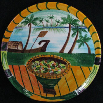 """HAND PAINTED 11"""" Plate made in ITALY for Neiman Marcus"""