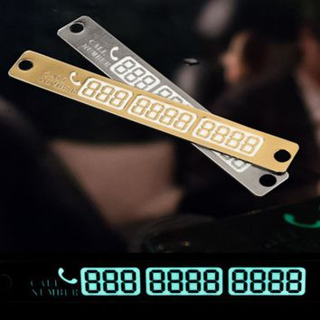 Onever Temporary Car Parking Card Telephone Number Card Notification Night Light Sucker Plate Car Styling Phone Number Card