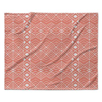 "Pom Graphic Design ""Aztec Roots"" Orange Tribal Fleece Throw Blanket"