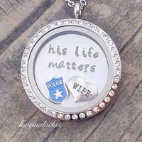 Police Wife Floating Locket, Police Wife Necklace, Police Wife Jewelry, Police Wife Gift, Cop Wife Necklace, Cops Wife Locket, Cop Wife Gift