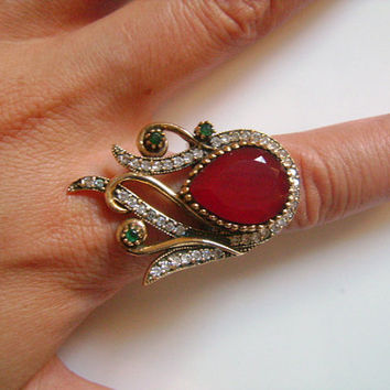 925 Sterling Silver Bronze Gemstone Pear Shape Cut Red Ruby Green Emerald Cubic Zirconia Fancy Cocktail Ring Beautiful Unusual Design Sz 8.5