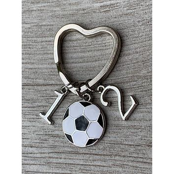 Personalized Soccer Heart Keychain - Number Charms