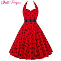 Belle Poque Summer Womens Dresses  Casual Polka Dot Retro Vintage 50s robe Rockabilly Swing Pinup Party Dress Plus