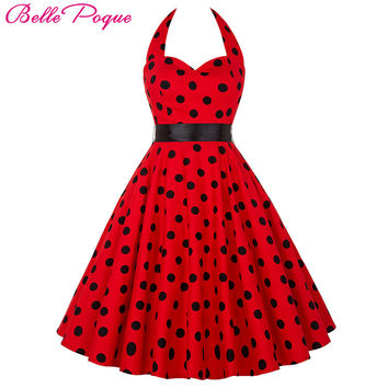 Belle Poque Summer Womens Dresses 2017 Casual Polka Dot Retro Vintage 50s 60s robe Rockabilly Swing Pinup Party Dress Plus Size