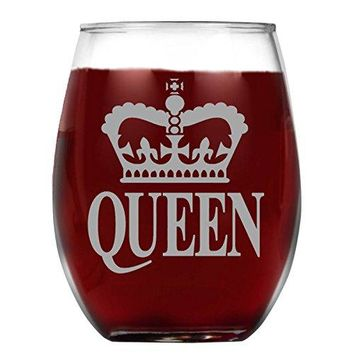 Shop4Ever Crown Queen Laser Engraved Stemless Wine Glass ~ Anniversary Gift ~ 15 oz Stemless